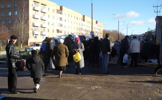 Market scene in Russia
